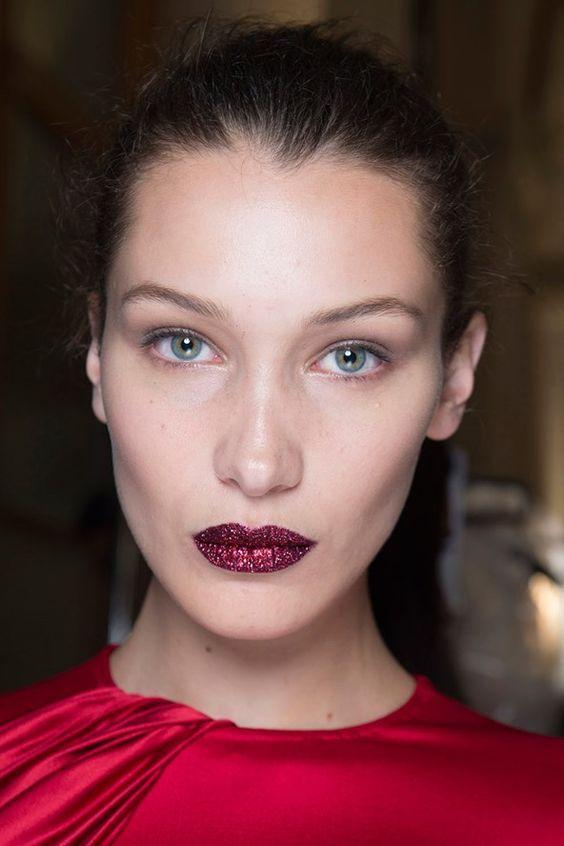 Red glitter lip. Atelier Versace. Bella Hadid. Pat McGrath: