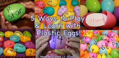 5 Fun ways to play & learn with plastic eggs! Practice letter & sound recognition, learn sight words & word families and review addition facts & number recognition. There is so much you can do! How do you make use of your leftover plastic eggs?