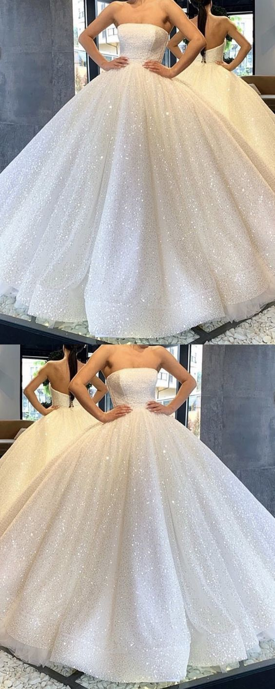 Sparkly Ball Gown Strapless Open Back White Sequins Long Prom Dresses Cr 5510 In 2020 Ball Gowns Wedding Ball Gown Wedding Dress Wedding Dress Sequin [ 1410 x 564 Pixel ]