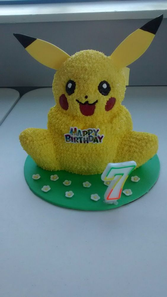 Pokémon Pikachu 3D cake. Made with Wilton 3D Bear pan. Gumpaste ears and tail.:
