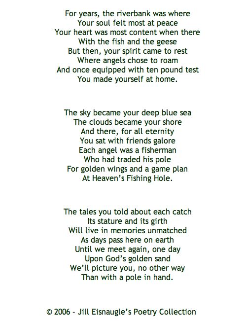 Funeral poem on fishing | Aging/Elderly/Death | Pinterest ...