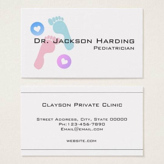 Baby Foot Print Simple Pediatrician Business Card Zazzle Com Baby Footprints Medical Business Card Baby Feet