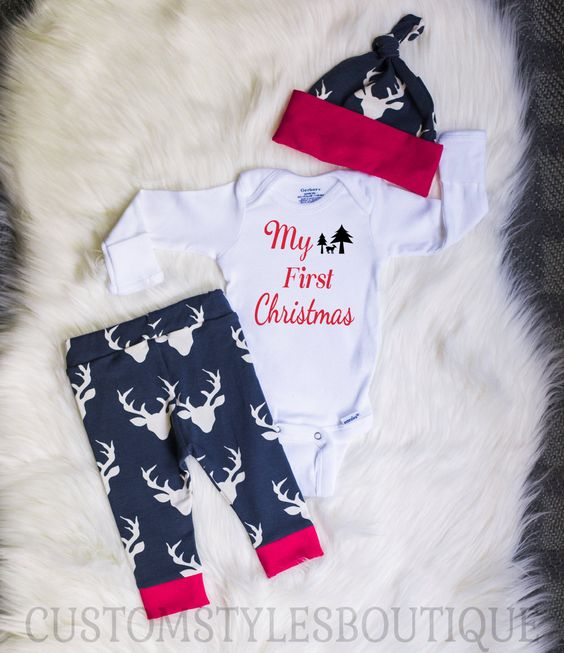 Baby Boys Coming Home Outfit, My First Christmas, Red Cuffs, Deer Leggings And…