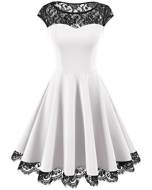 Homrain Womens 1950er Jahre Elegantes Spitzenkleid Runder Hals Knielangen Mode In 2020 Spitzenkleider Schone Kleider Schone Kleidung
