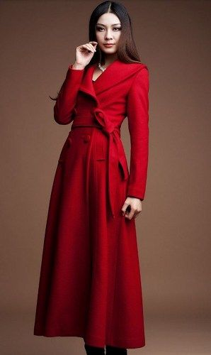 Red Long Coats-Red Winter Wool Coats-Women Red Long Thick ...