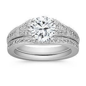 Vintage Cathedral Diamond Wedding Set with Pavé Setting with Brilliant Round Diamond