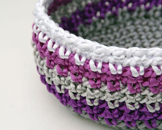 Satin Cord Crochet Basket