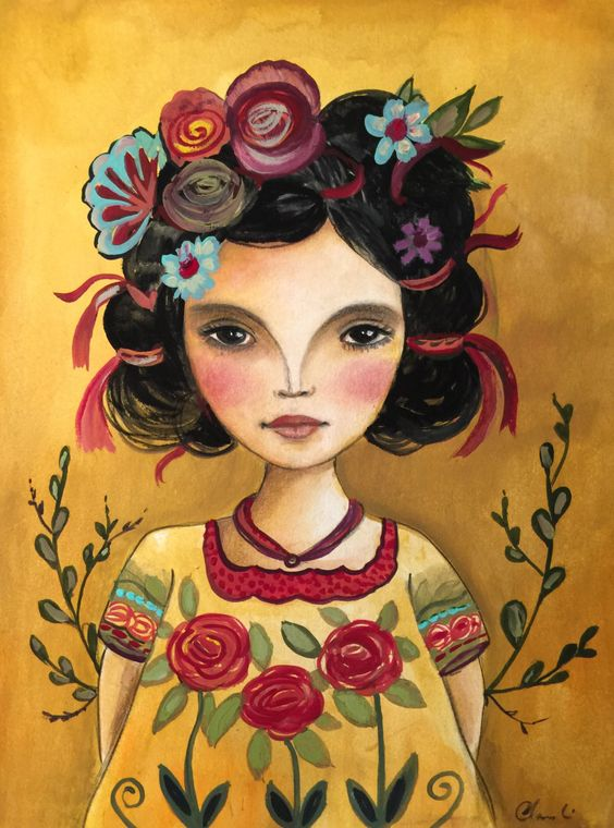 Latin doll frida  inspired art print by claudiatremblay on Etsy