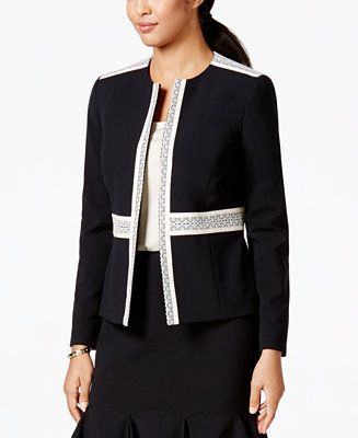 Nine West Open-Front Lace-Trim Jacket - Blazers - Women - Macy's