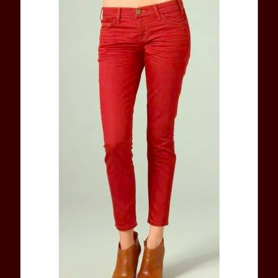"Current/Elliott❣stiletto red rodeo❣28 6/8 NWOT!❣ Anthropologie Current/Elliott The Stiletto Rodeo Red Jeans. They retail for $228, are brand new and a size 28! Seen on Miranda Lambert during her Super Bowl performance!  These red ankle skinny jeans feature 5-pocket styling and a single-button closure. Wrinkling at front. 10"" leg opening. ❤️tag marked to prevent store returns, as per most of my current Elliott  * 8"" rise. 28"" inseam. * Fabrication: Super-stretch denim. * 77% cotton/23%…"