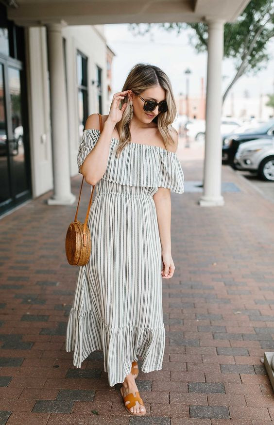 Striped Off the Shoulder Maxi Dress…   Wear & When