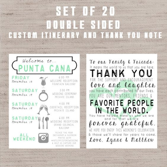 SET OF 20** Destination Wedding Welcome Bag Letters AND Guest - event itinerary template