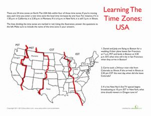 Printables Time Zone Worksheets usa time zones fourth grade and worksheets geography worksheet