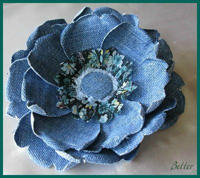 Roses of Denim. Bling it out with a crystal button center or pearls would be pretty too.