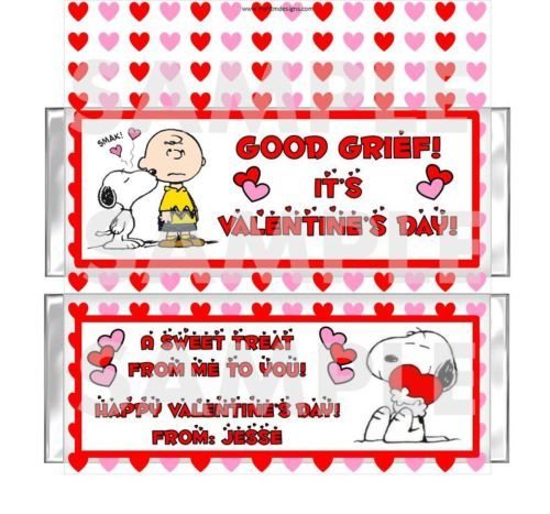 SNOOPY CHARLIE BROWN Valentines Day candy bar wrappers FREE FOILS Personalized