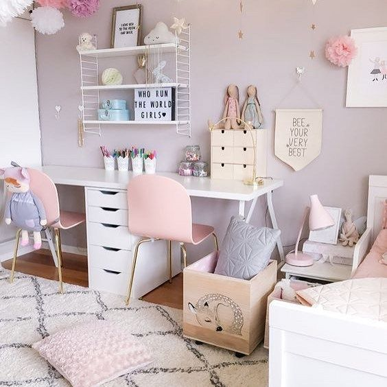25 Ideas For Designing Shared Kids Rooms Shared Girls Room Wall Decor Bedroom Girls Room Wall Decor Little girls room ideas furniture