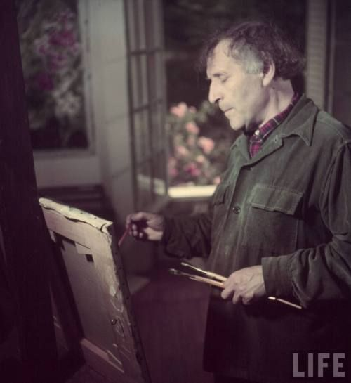 Marc Chagall in his Studio (Atelier), 1949. Photo by Gjon Mili