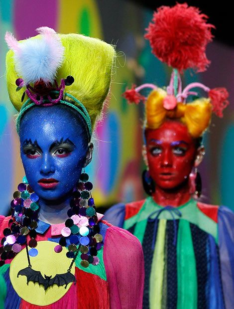 Models display creations by designer Meadham Kirchhoff during a fashion show at London Fashion Week