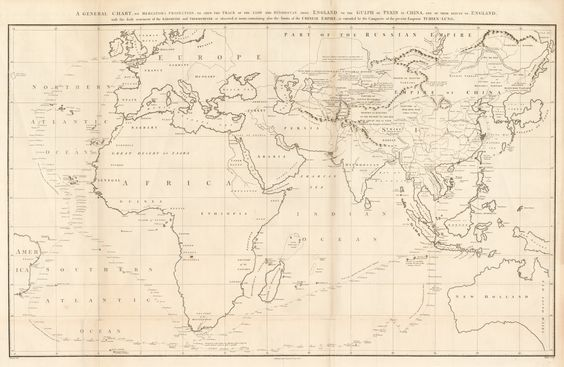 1796 A General Chart on Mercator's Projection, to Shew the Track of the Lion and Hindostan from England to the Gulf of Pekin in China...