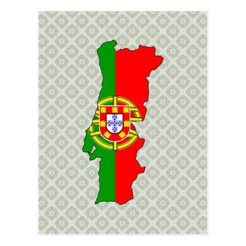Portugal Flag Map Full Size Postcard Zazzle Com Portugal Flag Postcard Flag