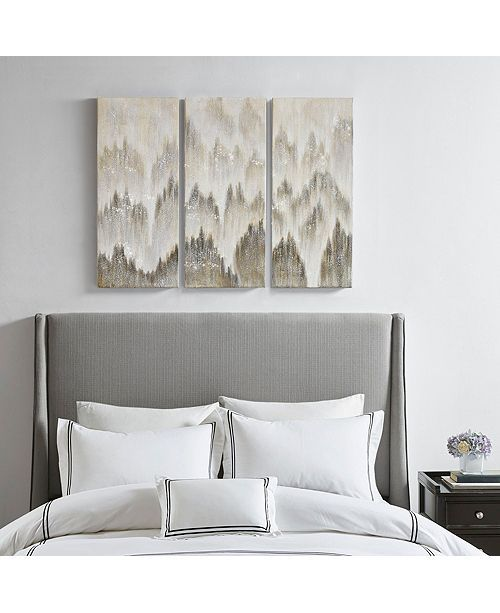 Jla Home Madison Park Sterling Mist Hand Brush Embellished Canvas Set Of 3 Reviews Wall Art Macy S In 2020 Jla Home Accent Wall Bedroom Home
