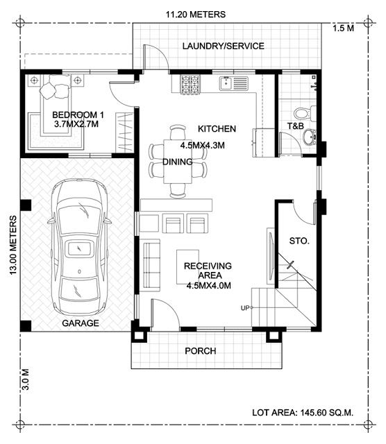 Home Design Plan 7x15m With 5 Bedrooms House Plan Map Two Story House Design Two Storey House House Plans