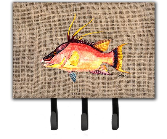 Hog Snapper on Faux Burlap Leash or Key Holder 8753TH68