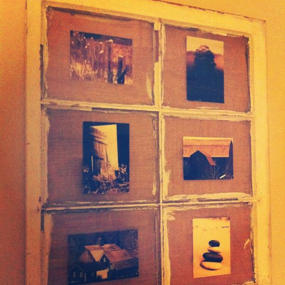 Window pane + burlap + photos ❤- Just bought three at an antique store- great idea!!