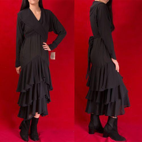 VTG-NORMA-KAMALI-80s-Romantic-Sheer-RUFFLED-Avant-Garde-DRESS