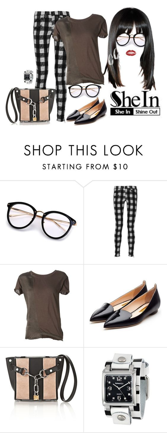 """""""Shein Contest - Black Round Frame Sunglasses"""" by neicy-i ❤ liked on Polyvore featuring rag & bone, RtA, Rupert Sanderson, Alexander Wang, Nemesis, sunglasses, Checkered and shein"""