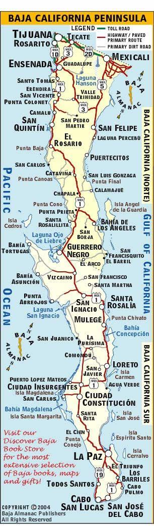 Mapa de Baja California, México ✿⊱╮                              …
