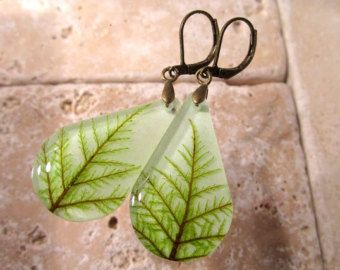 Stair Step Moss (Hylocomium splendens) aka Mountain Fern Moss Earrings, woodland, forest, bryophytes, plant jewellery, leaf jewelry by Chaerea