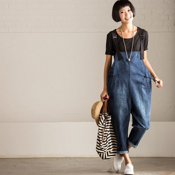 Vintage Cowboy Jeans Overalls Loose Trousers Women Clothes N7169A