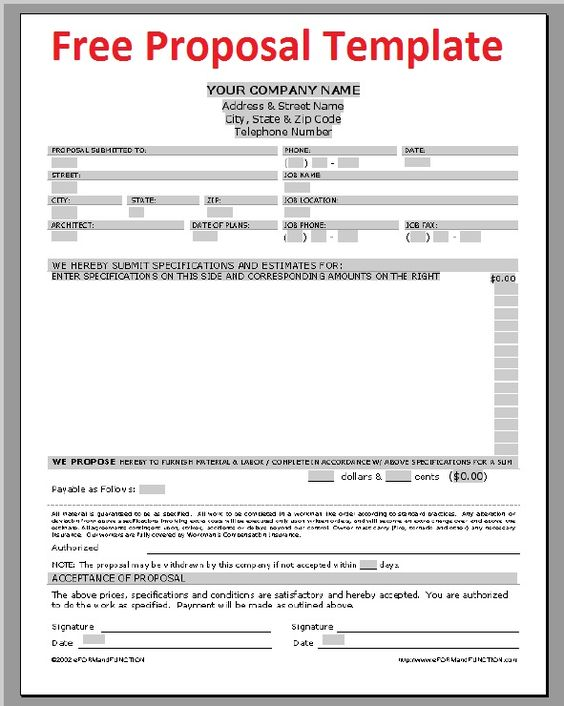Printable Sample Construction Proposal Template Form – Project Quotation Template