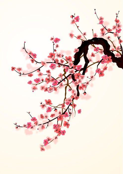 Sakura Wall Mural Pixers We Live To Change Cherry Blossom Art Cherry Blossom Painting Cherry Blossom Wall Art