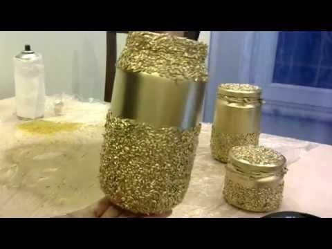 Bulgurdan Gold Dekoratif Cam Vazo Yapimi Kavanoz Boyama 2 Youtube Candle Holders Candles Fido