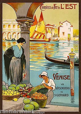 Chemins de Fer L' Est Venise Venice Italy Vintage Travel Advertisement Poster
