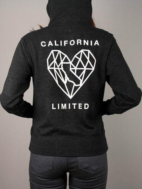 California Heart Zip Up Sweatshirt