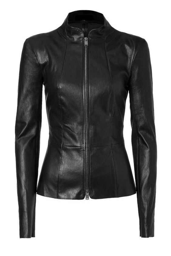 Women stylish black leather jacket, women real cowhide leather ...