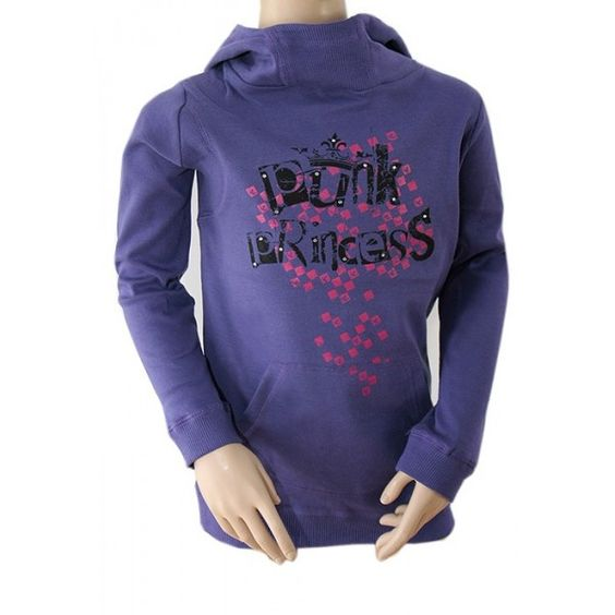 http://intueri-e-commerce-s-l_4890924.solostocks.com/catalogo  Originalmente creado por Ethel Austin Hecho de una tela sudor Acanalado cuello alto con capucha Punk Princess imprimir a frente  Puños y dobladillo acanalados Kangaroo bolsillo para delante Color: Purpura 100% algodón Tallas: 08.09, 09.10, 10.11, 11.12 y 12 / 13y surtidos