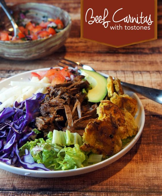 Paleo Slow Cooker Beef Carnitas & Tostones   The chile-braised beef is ...