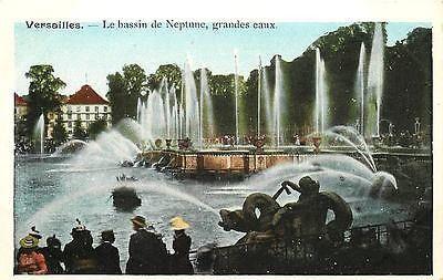 Versailles Seine et Oise France 1920 Neptune Fountain Big Water Vintage Postcard