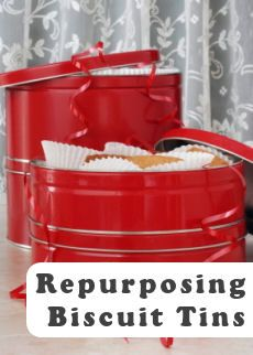 repurposing biscuit cookie tins organizing ideas craft