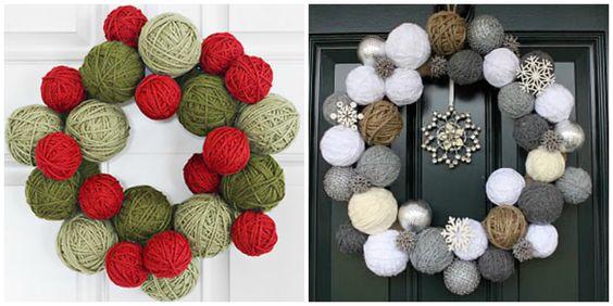 DIY corona de navidad de hilos de lana