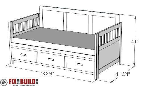 Diy Daybed With Storage Drawers Twin Bed Plans Daybedwoodworkingplans Daybed With Storage Diy Daybed Diy Toddler Bed