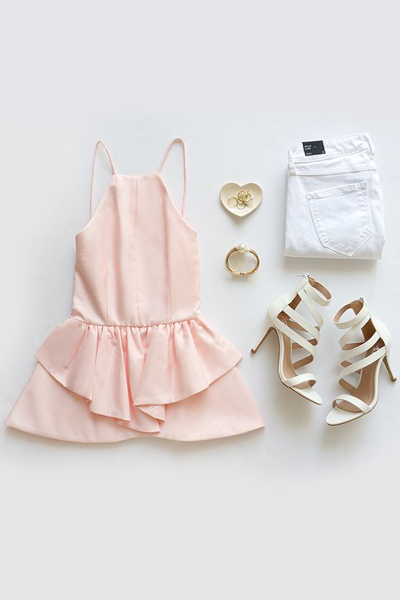 In the Trend Light Peach Backless Peplum Top:
