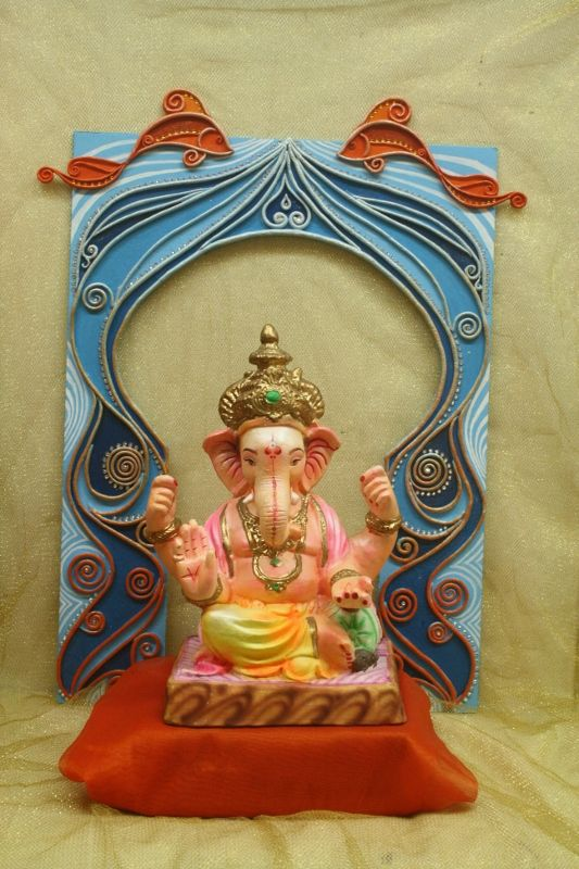 Shilpkar backdrop make beautiful ganpati with help of for Background decoration for ganpati