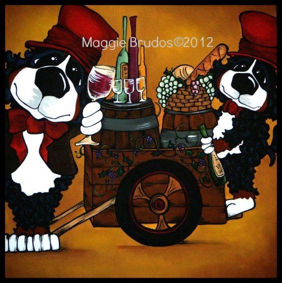 draft Grape Vine fat chef whimsical dog  art by tangerinestudio, $125.00