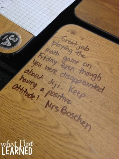 Writing notes on students' desks is so encouraging!  I try to write 4-5 notes at the end of each day to promote classroom community and positive behavior.