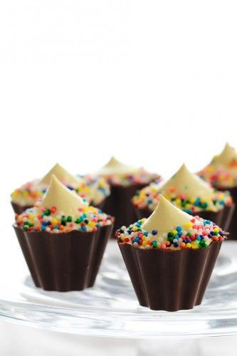 Cupcake Pudding Shooters (made w/ Pinnacle Cake Vodka & Godiva Chocolate Liqueur).